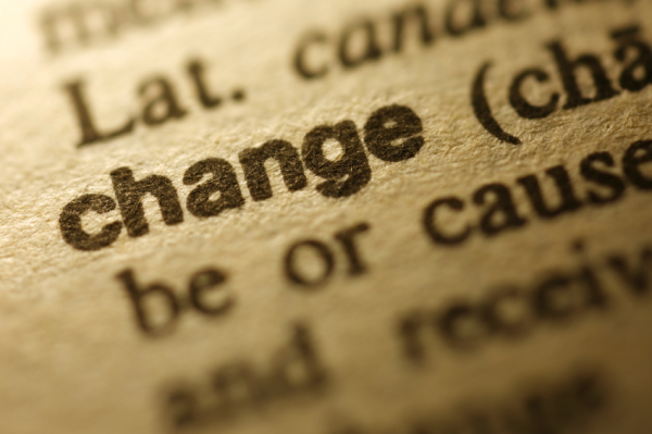 "Selective focus on the word "" Change ""."