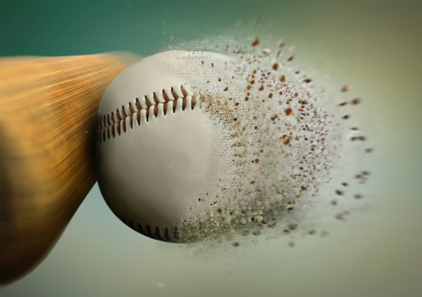 Baseball being hit